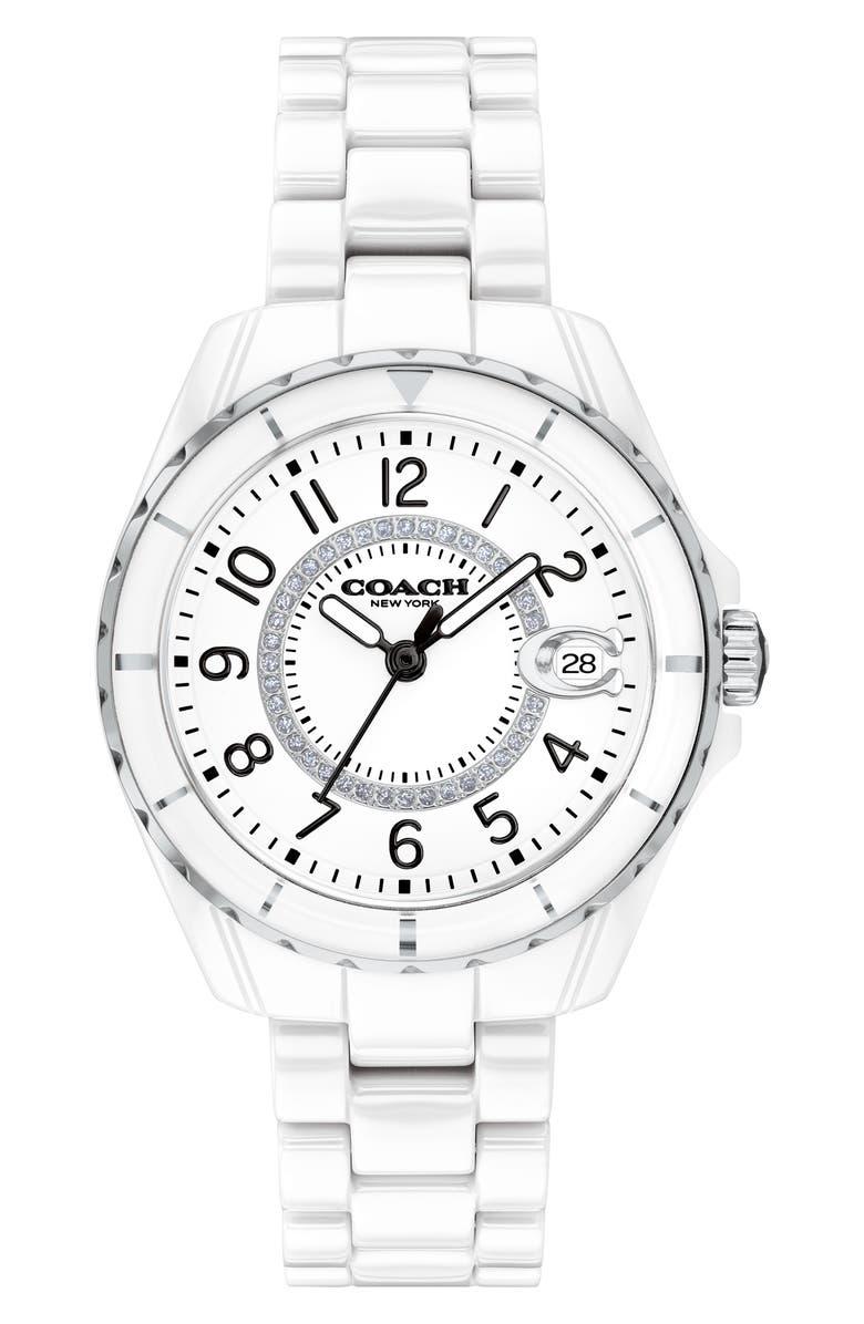 COACH Preston Ceramic Bracelet Watch, 32mm, Main, color, WHITE/ SILVER