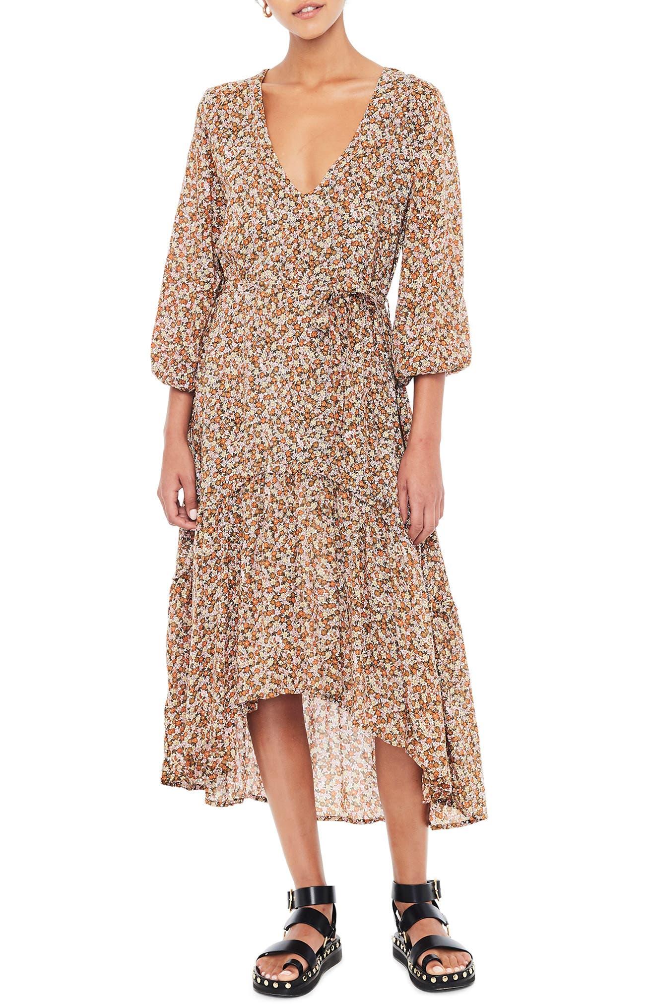 Matilda High/low Peasant Dress, Brown