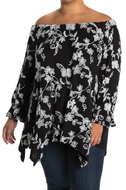 Image of Forgotten Grace Peasant Sharkbite Embroidered Tunic