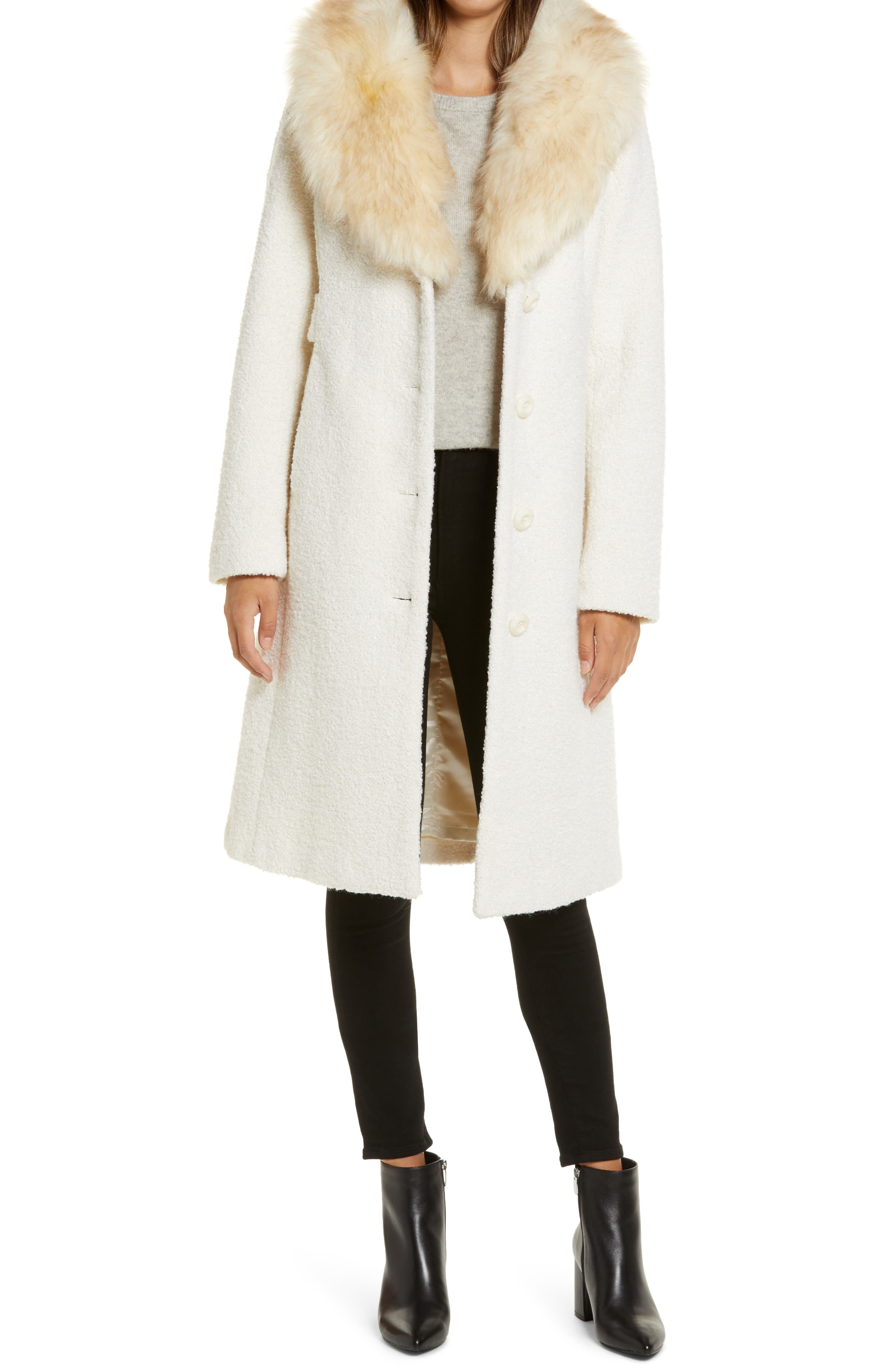 70s Jackets, Furs, Vests, Ponchos Womens Gallery Wool Blend Coat With Removable Faux Fur Collar Size X-Large - Ivory $174.90 AT vintagedancer.com