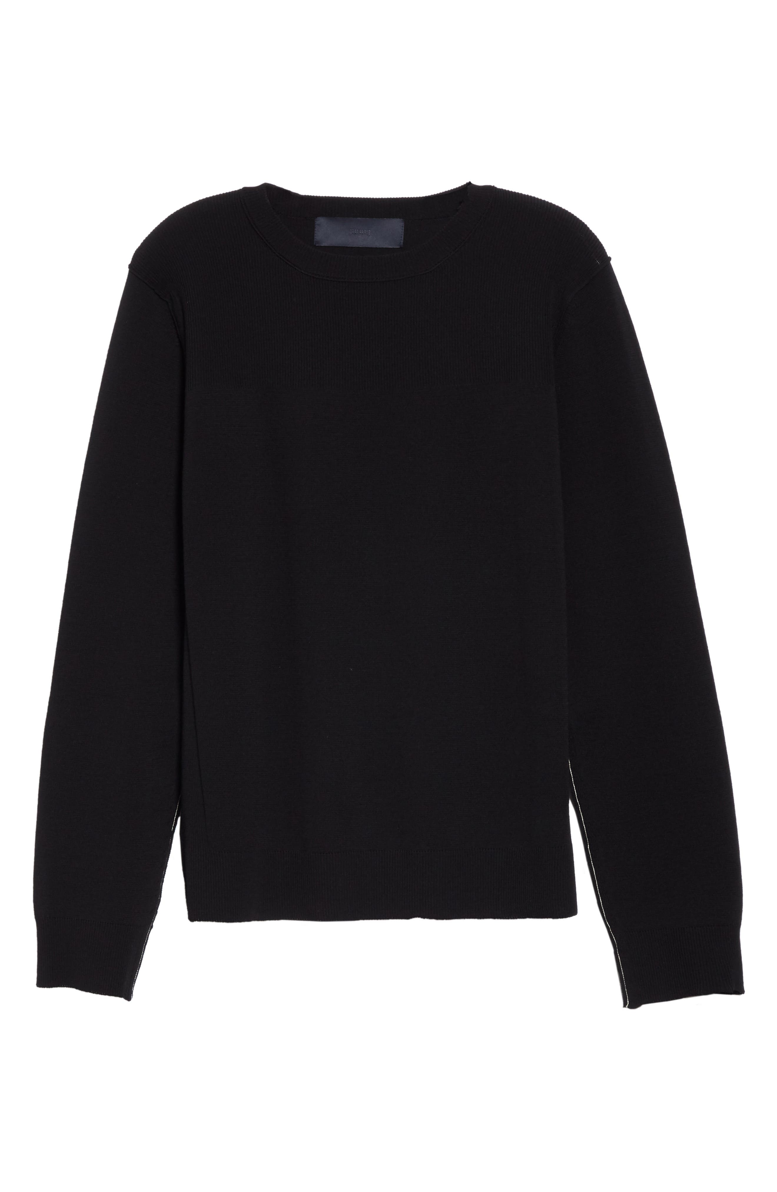 ,                             Contrast Stitch Wool Blend Sweater,                             Alternate thumbnail 6, color,                             001