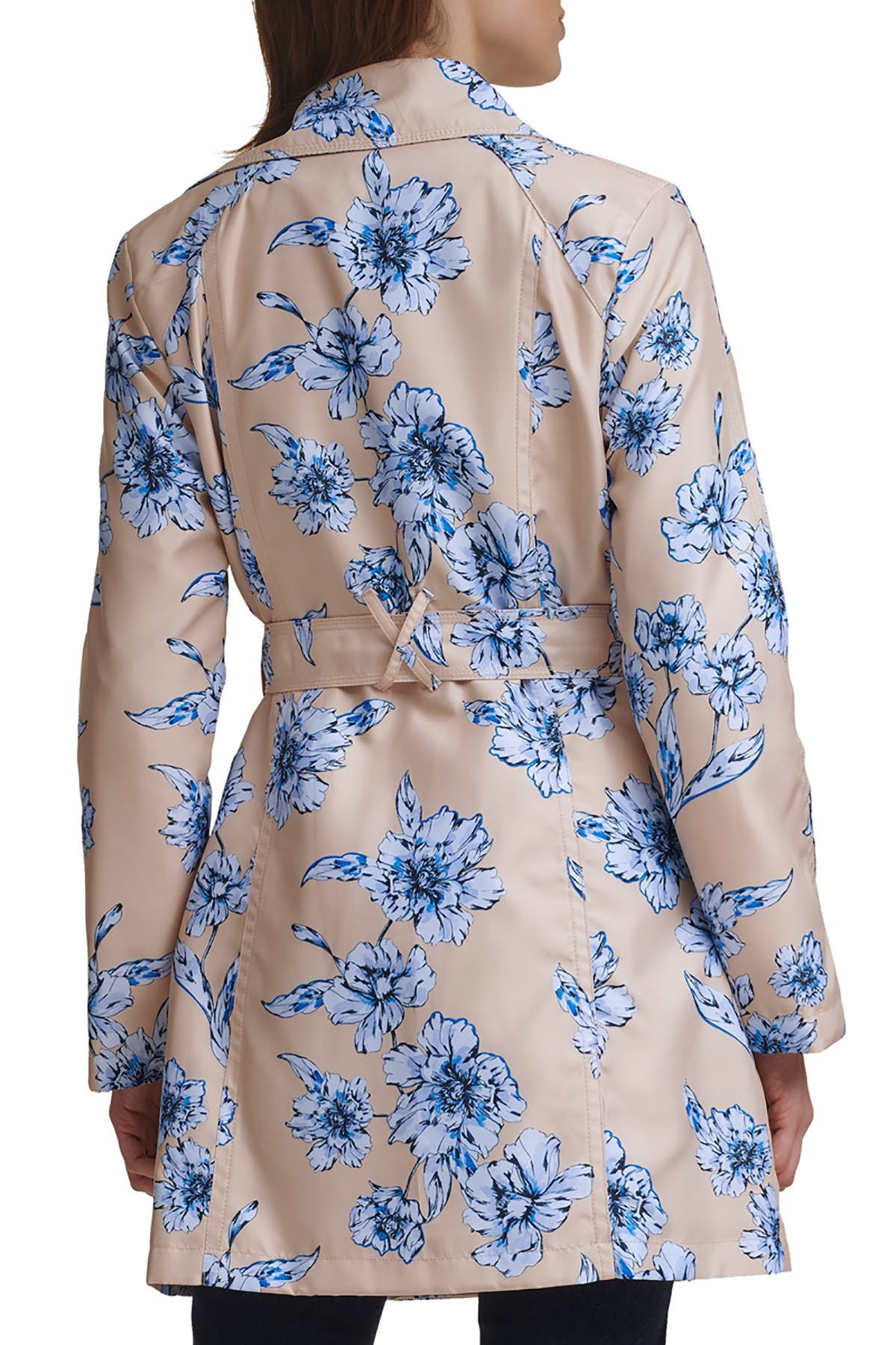 Karl Lagerfeld DOUBLE BREASTED FLORAL PRINT TRENCH COAT