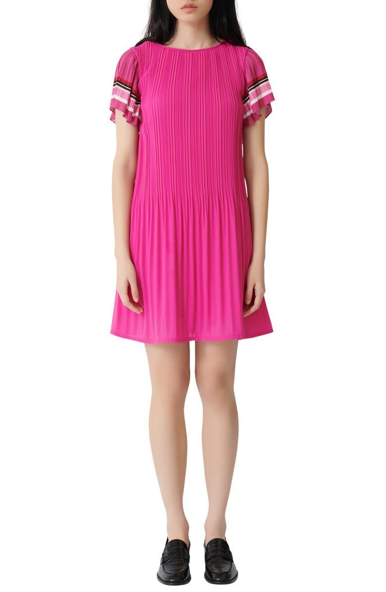 MAJE Rolini Pleated Short Dress, Main, color, FUCHSIA