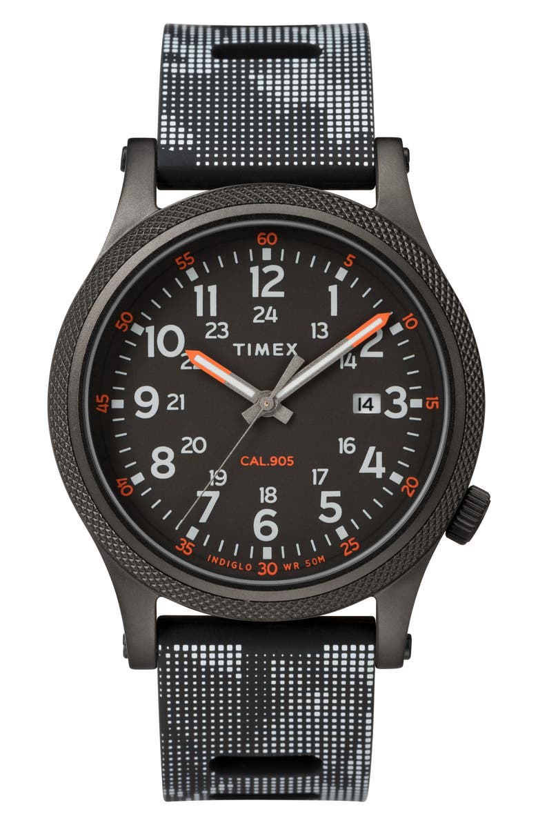 TIMEX<SUP>®</SUP> Allied Silicone Strap Watch, 40mm, Main, color, 001