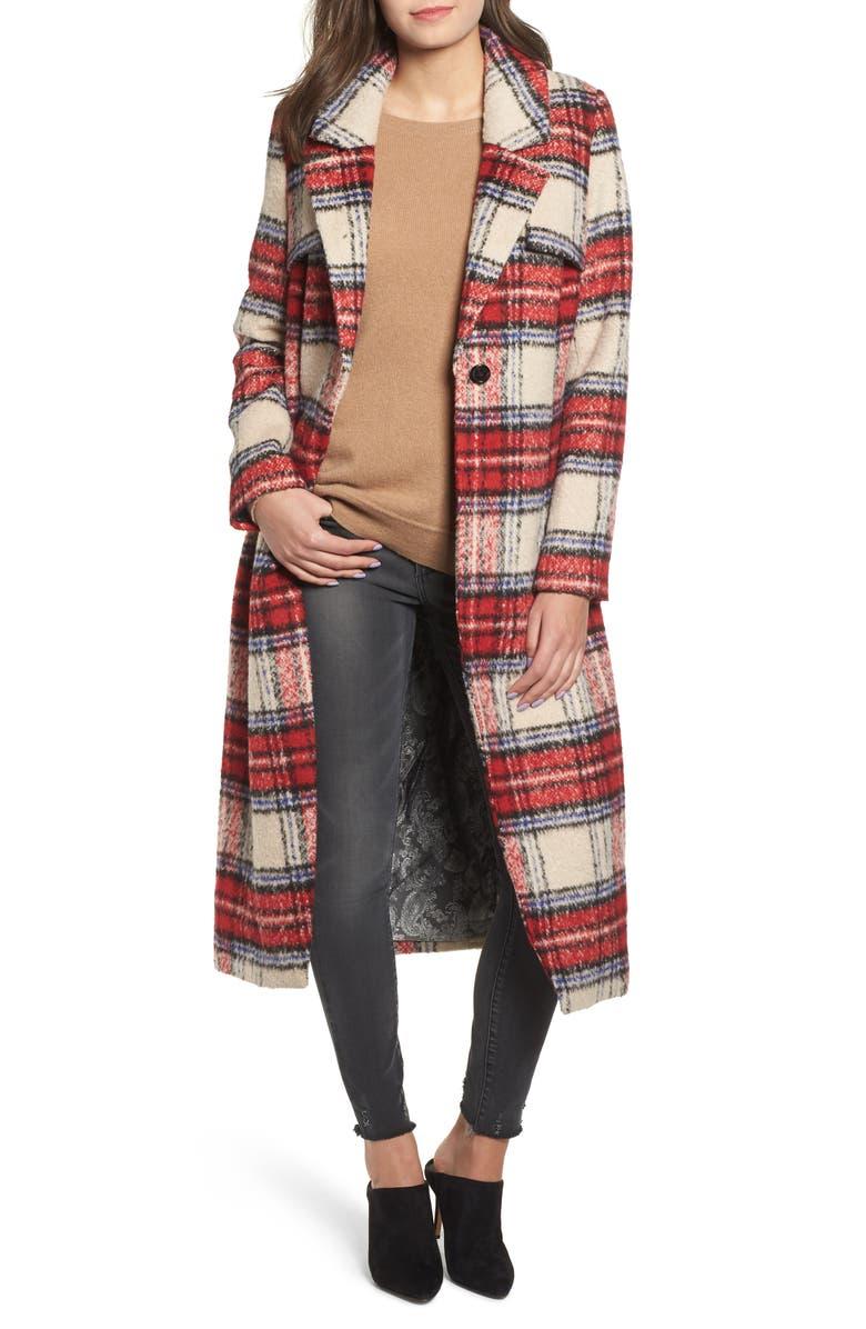 NVLT Plaid Long Coat, Main, color, 600