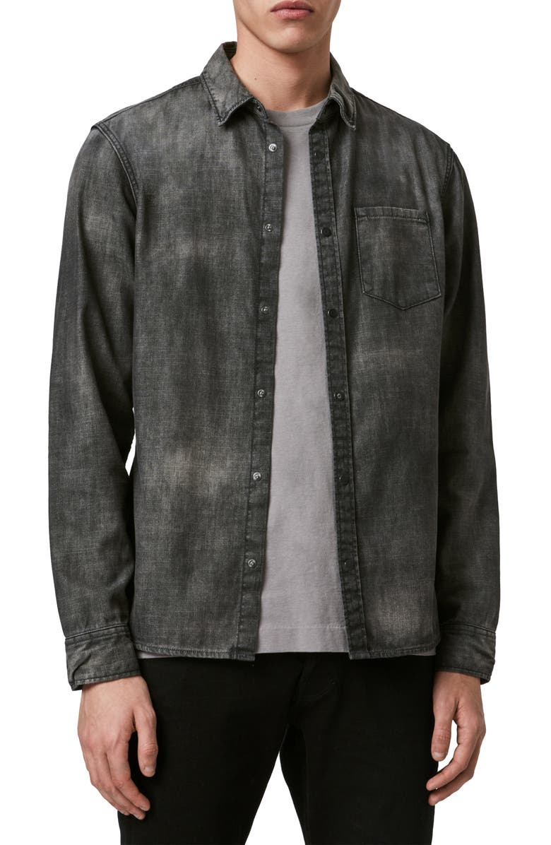 ALLSAINTS Garforth Slim Fit Snap Chambray Shirt, Main, color, WASHED BLACK