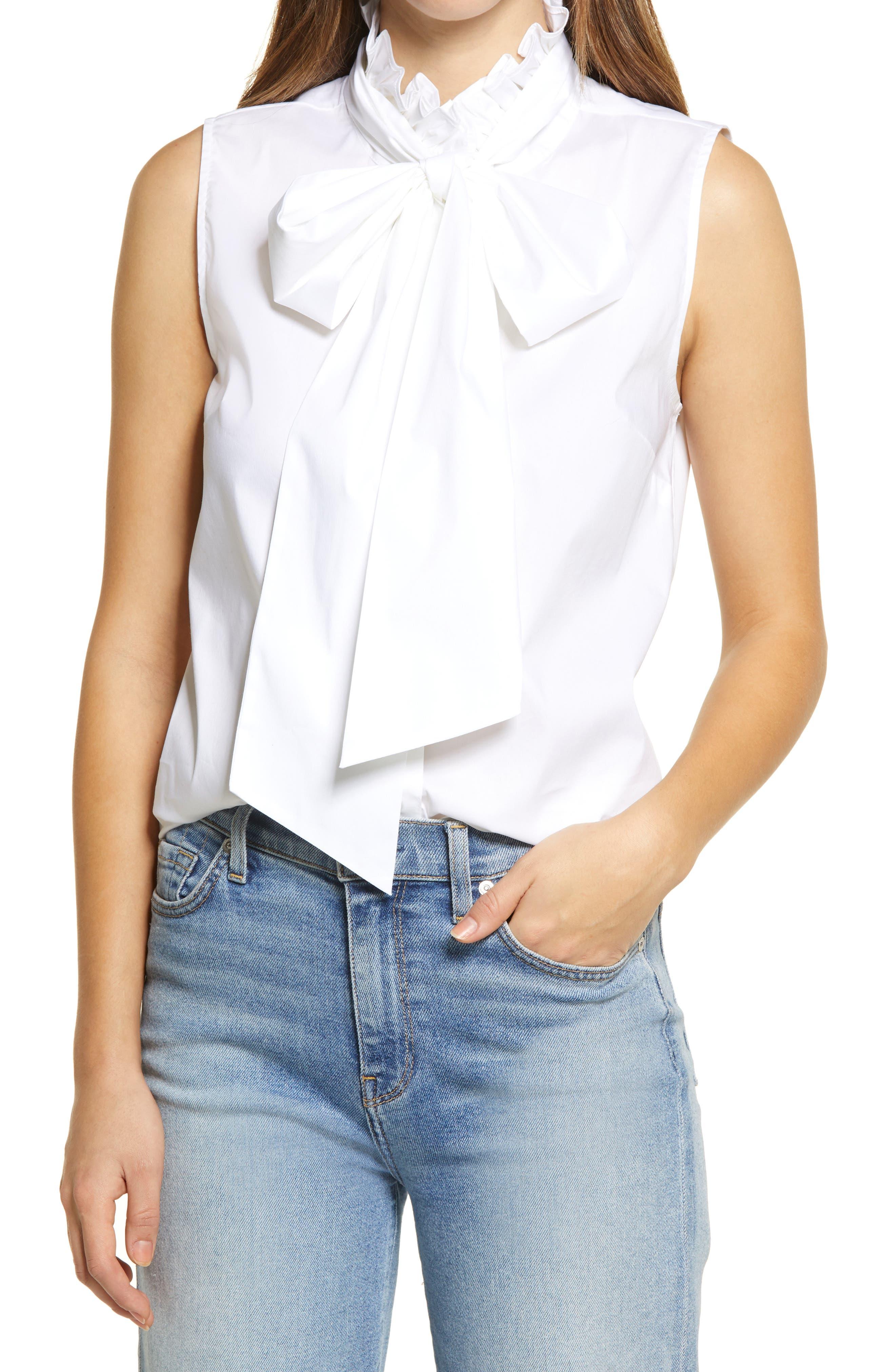 Women's Halogen Sleeveless Tie Neck Blouse