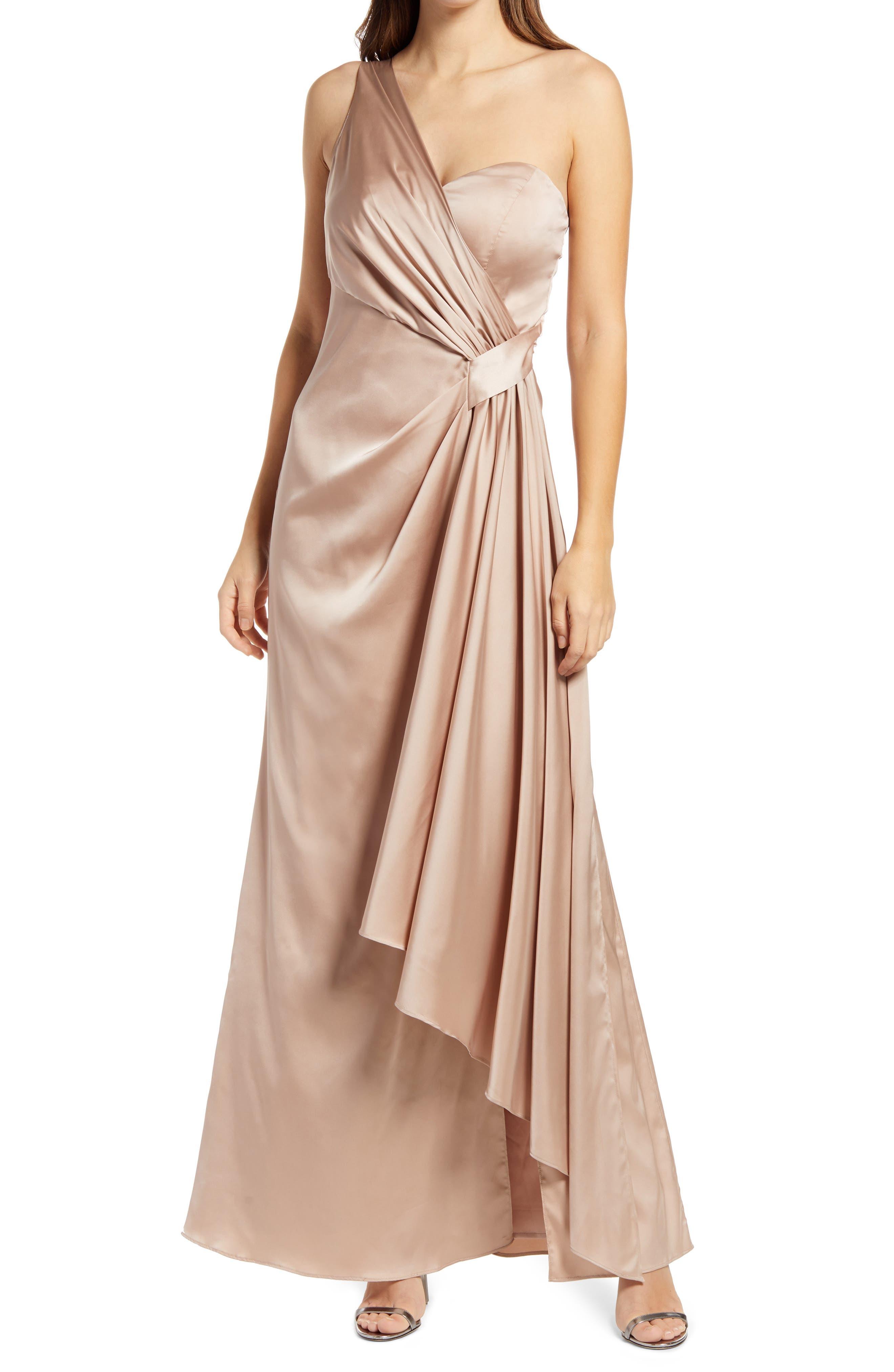 1930s Evening Dresses | Old Hollywood Silver Screen Dresses Womens Chi Chi London Draped One-Shoulder Bridesmaid Dress Size 10 - Beige $140.00 AT vintagedancer.com