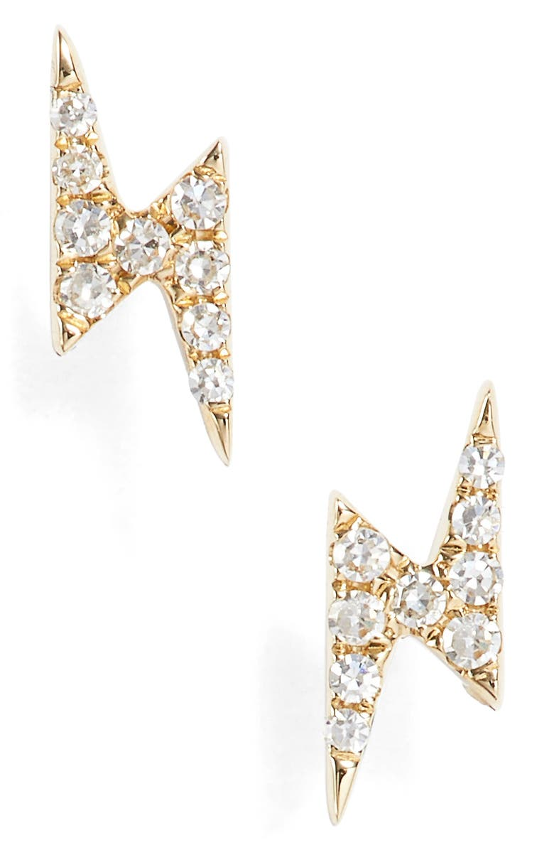 EF COLLECTION Diamond Lightening Bolt Stud Earrings, Main, color, YELLOW GOLD