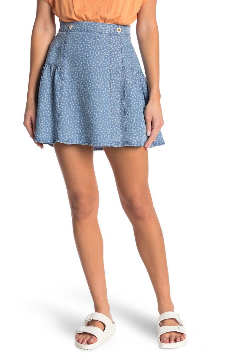 MADEWELL Floral Print Wrap Mini Skirt, Main, color, INDIGO DITSY DAISY