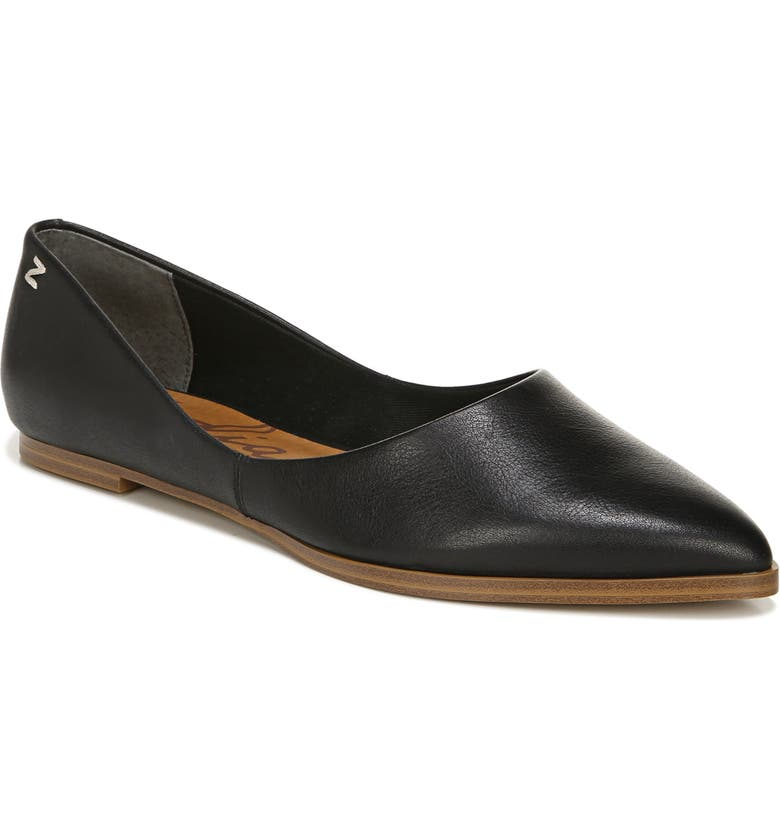 ZODIAC Hill Pointy Toe Flat, Main, color, BLACK LEATHER