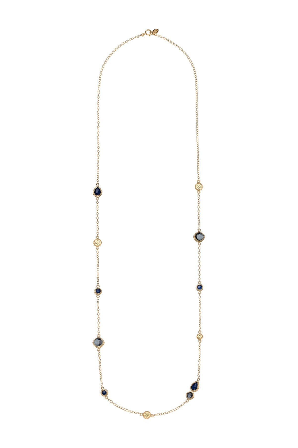 Image of Anna Beck 18K Gold Plated Sterling Silver Hematite & Sapphire Station Necklace