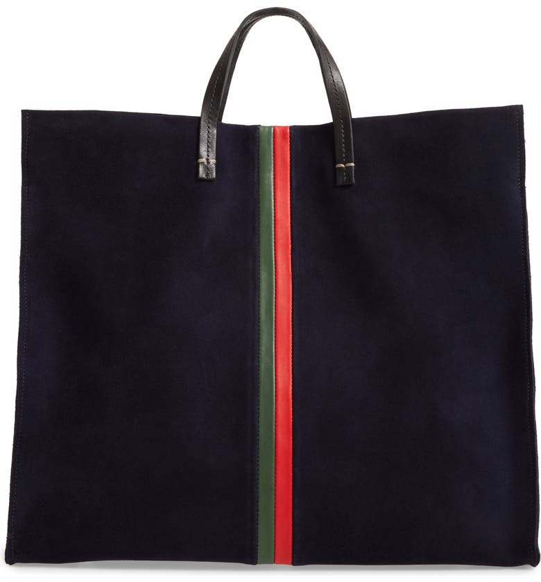 CLARE V. Simple Leather Tote, Main, color, NAVY/ EVERGREEN STRIPES