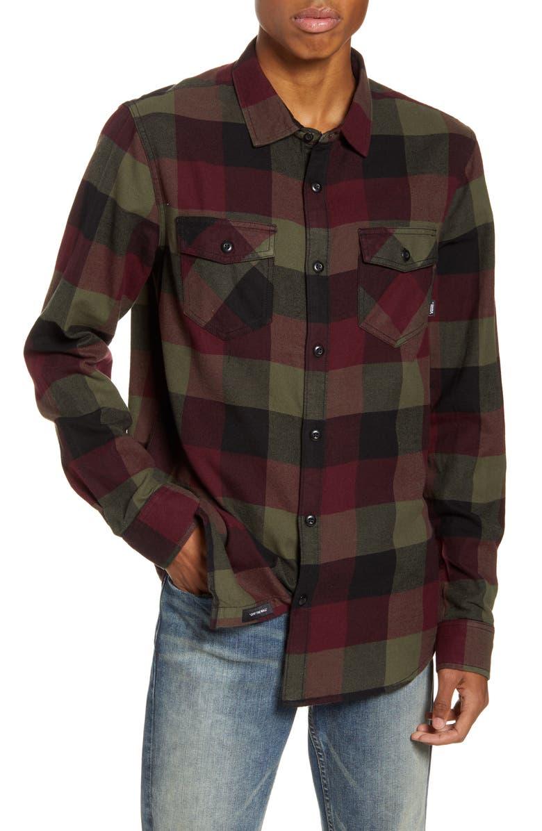 VANS Box Buffalo Check Button-Up Flannel Shirt, Main, color, PORT ROYALE/GRAPE LEAF