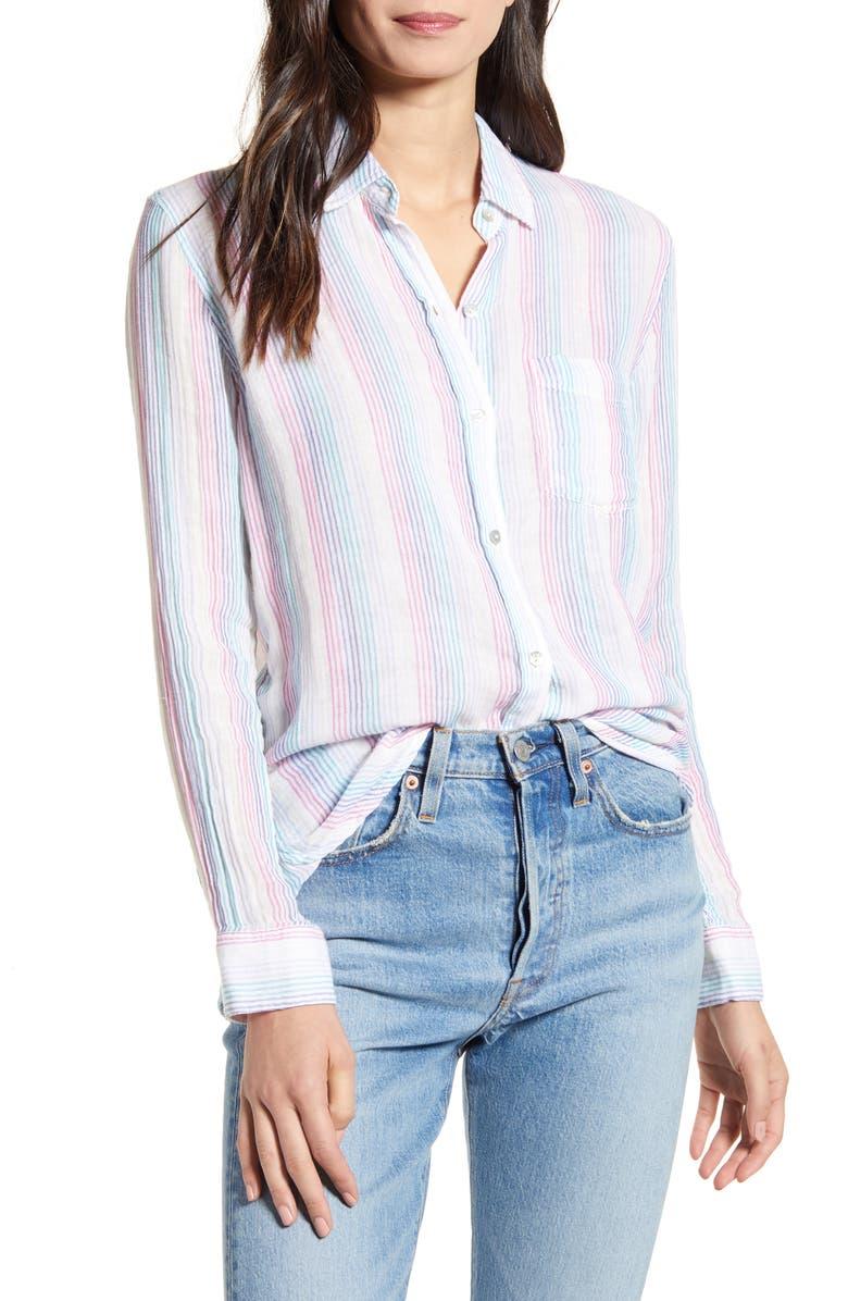 RAILS Ellis Cotton Shirt, Main, color, IRIS STRIPE