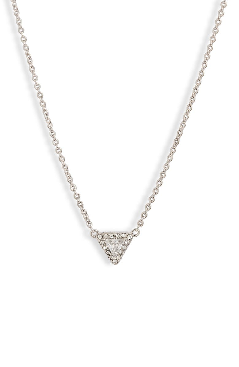 NORDSTROM Triangle Stone Pavé Halo Pendant Necklace, Main, color, CLEAR- SILVER