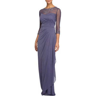 Petite Alex Evenings Embellished A-Line Gown, Purple