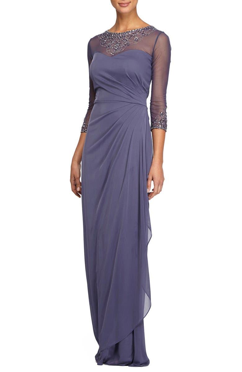 ALEX EVENINGS Embellished A-Line Gown, Main, color, VIOLET