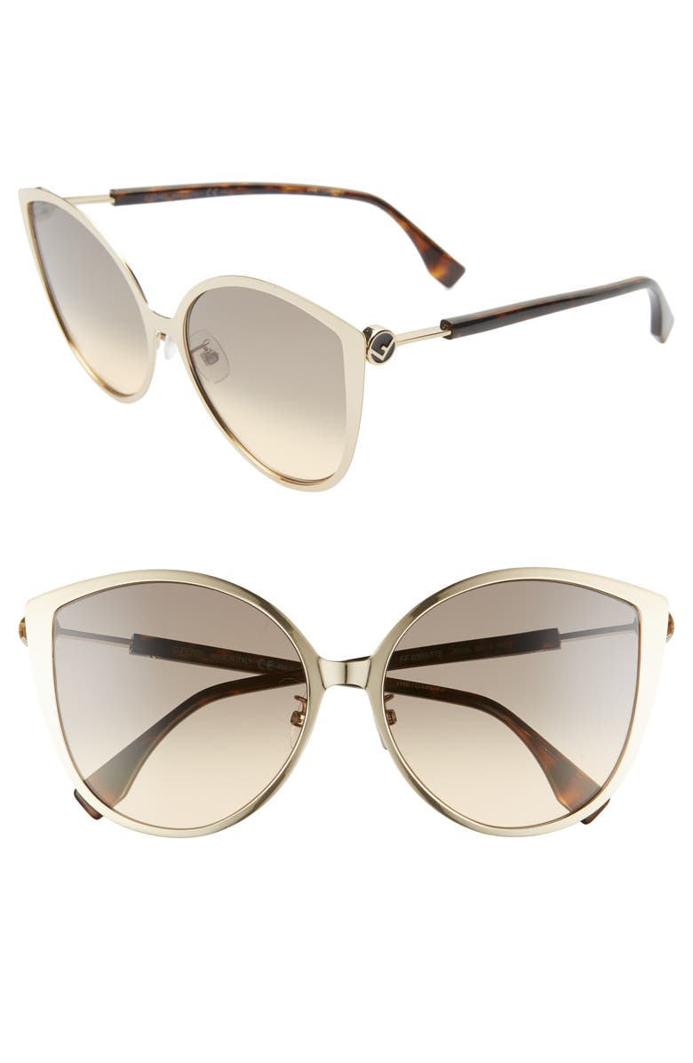 FENDI 60mm Special Fit Cat Eye Sunglasses, Main, color, GOLD/ BROWN OCHRE