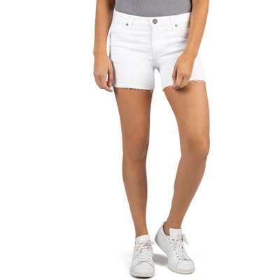 Kut From The Kloth Andrea Release Hem Denim Cutoff Shorts, White