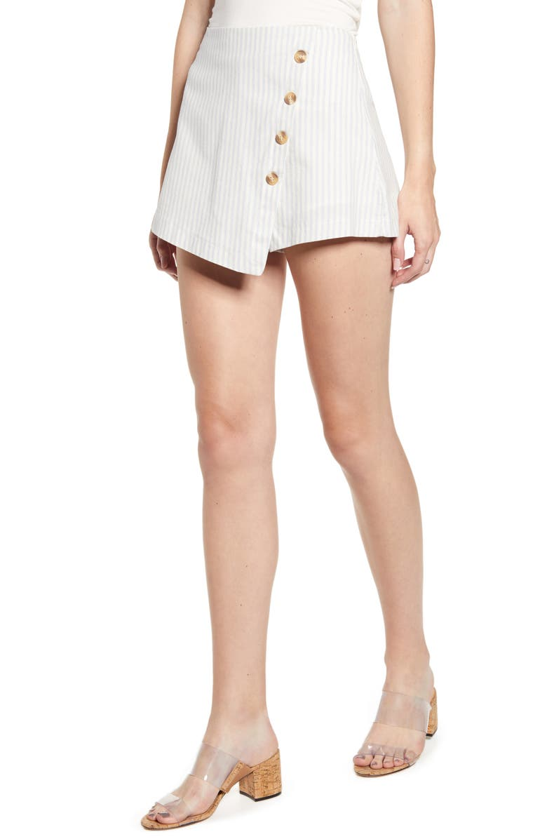 BISHOP + YOUNG Bishop & Young Ticking Stripe Cotton Skort, Main, color, BLUE STRIPE SKORT