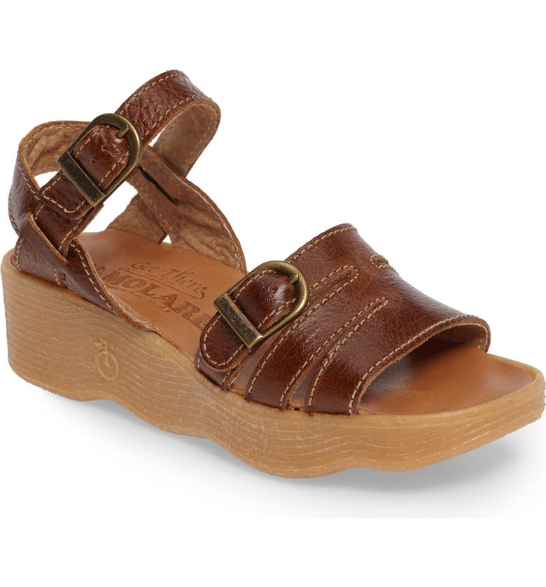 FAMOLARE Honeybuckle Wedge Sandal, Main, color, EARTH LEATHER