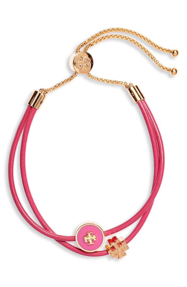 TORY BURCH Enamel Logo Slider Bracelet, Main, color, TORY GOLD / CRAZY PINK