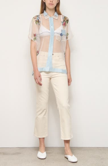 Pagoda Scene Sheer Silk Organza Shirt, video thumbnail