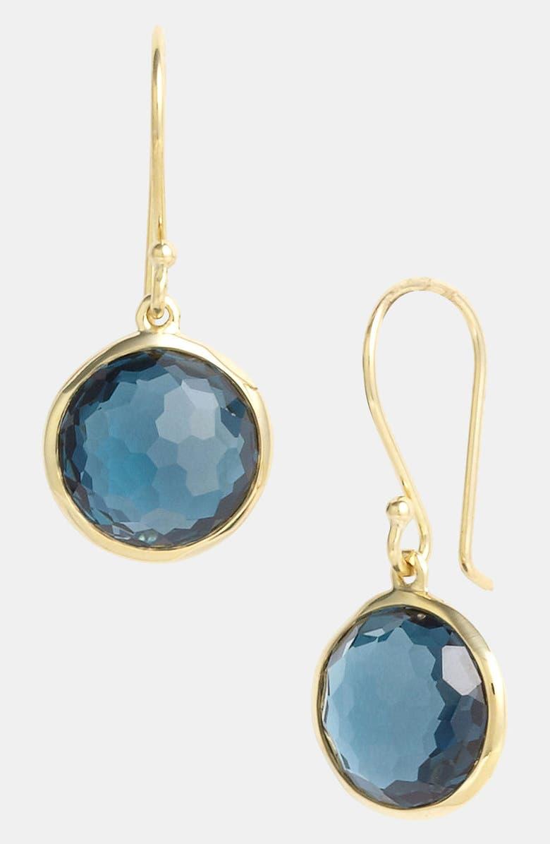 IPPOLITA 'Rock Candy - Mini Lollipop' 18k Gold Drop Earrings, Main, color, YELLOW GOLD/BLUE TOPAZ