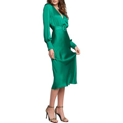Bardot San Diego Belted Satin Midi Dress, Green