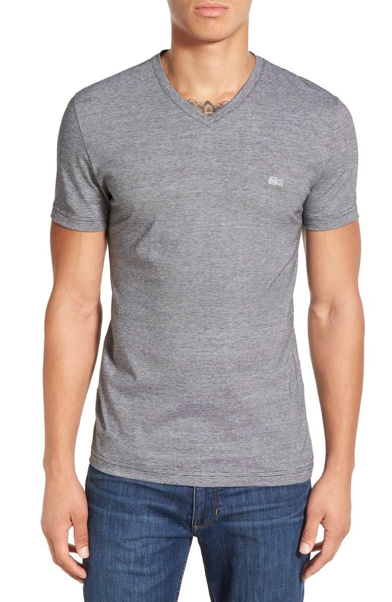 LACOSTE Stripe V-Neck T-Shirt, Main, color, 003