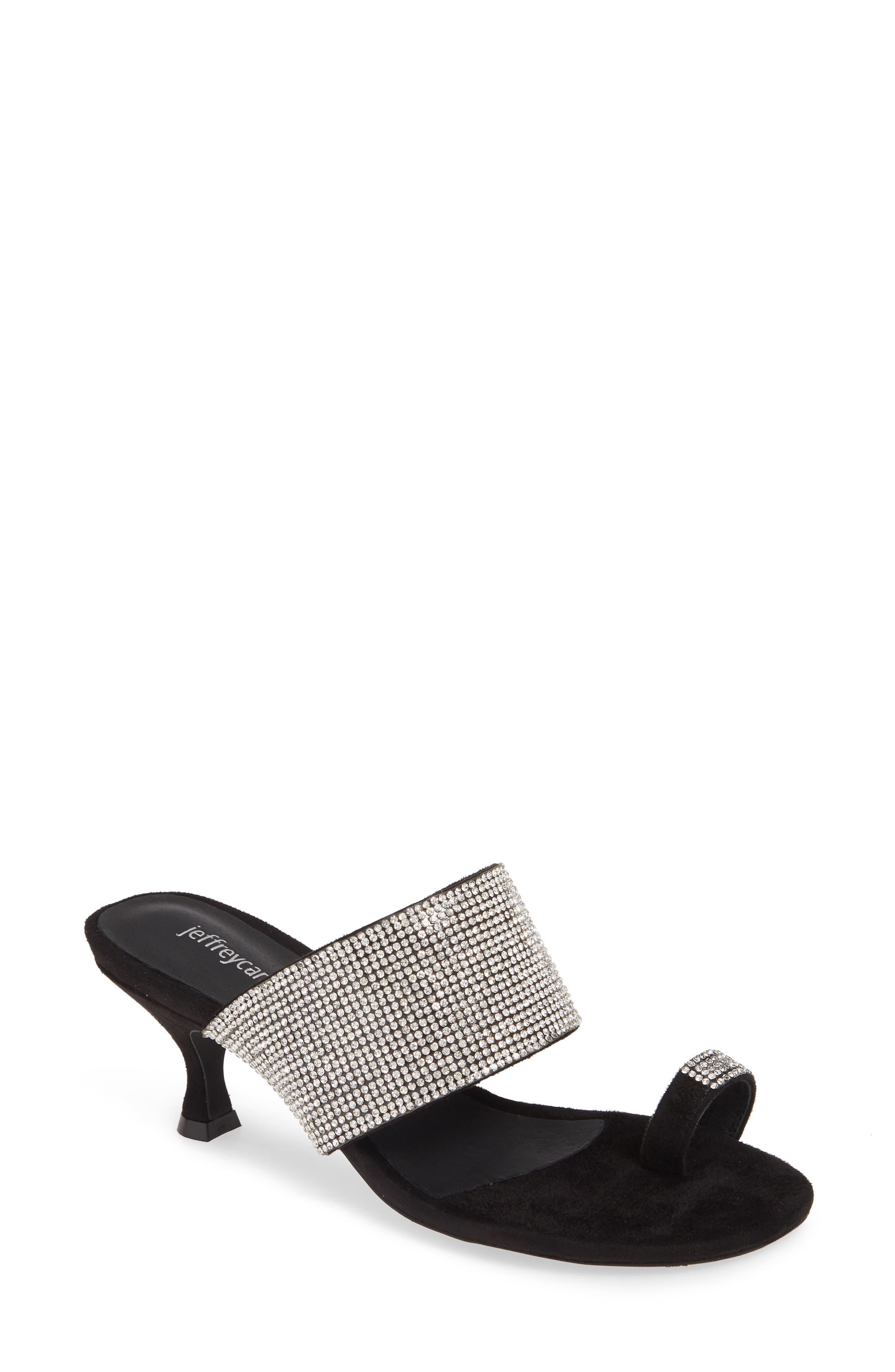 Elina Slide Sandal, Main, color, BLACK SUEDE SILVER