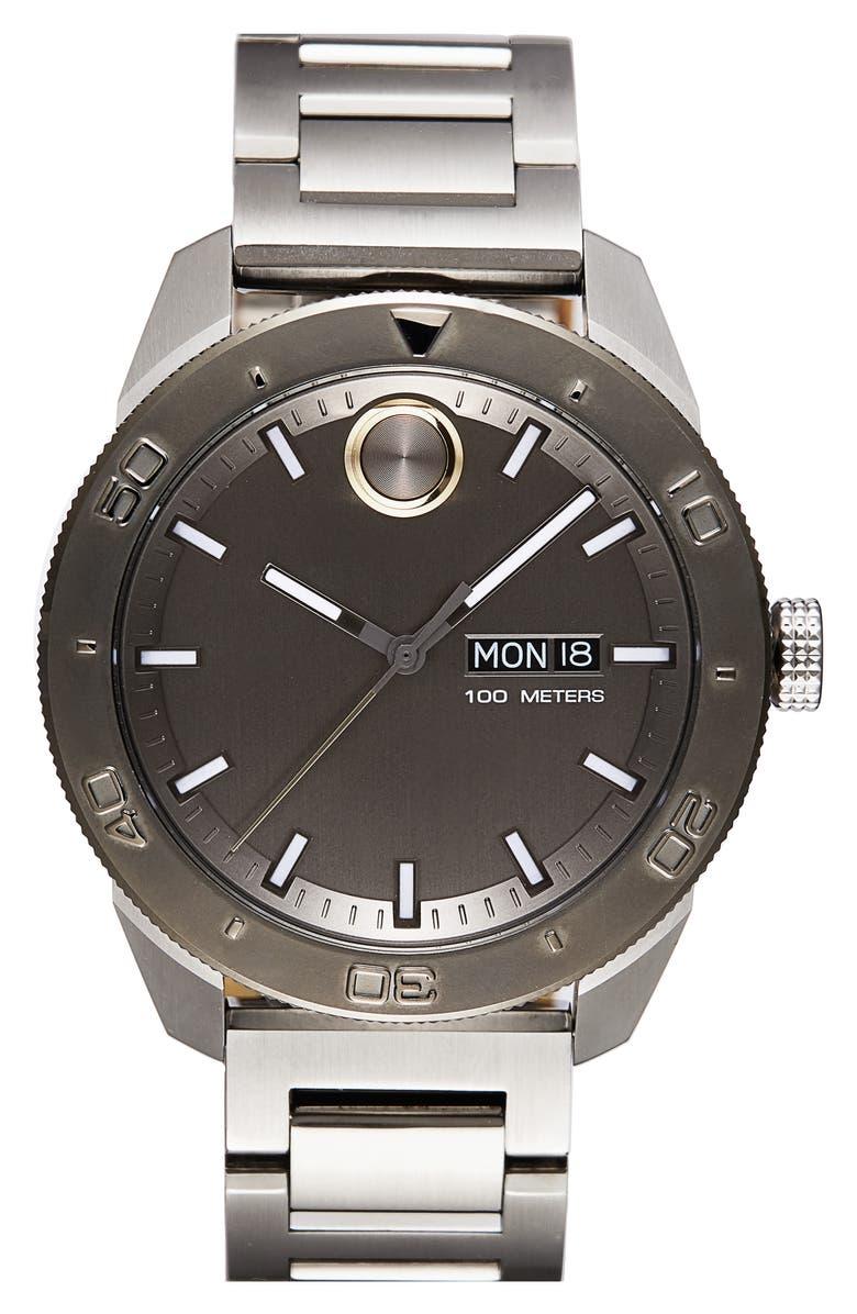MOVADO Bold Bracelet Watch, 43.5mm, Main, color, GREY/ GUNMETAL