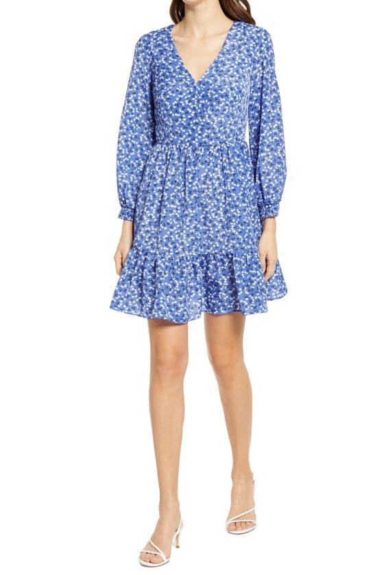Eliza J FLORAL SURPLICE NECK LONG SLEEVE FIT & FLARE DRESS