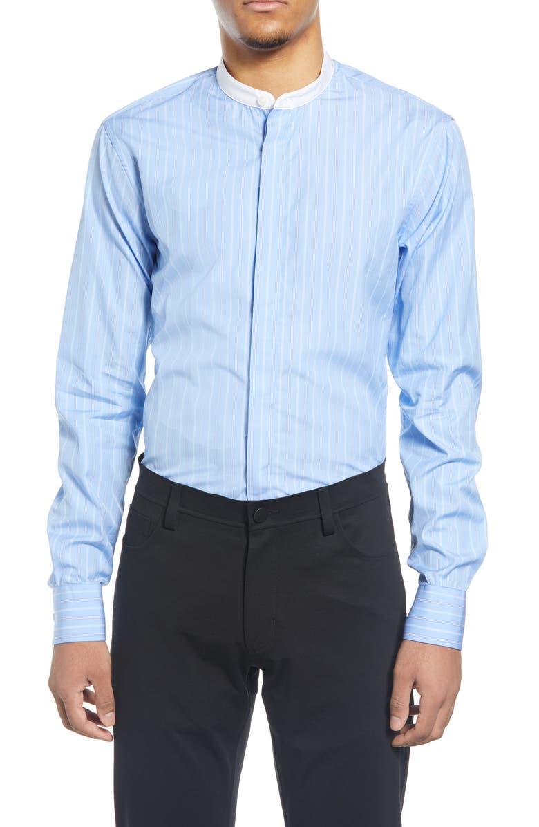 TIGER OF SWEDEN Slim Fit Stripe Band Collar Dress Shirt, Main, color, LIGHT BLUE