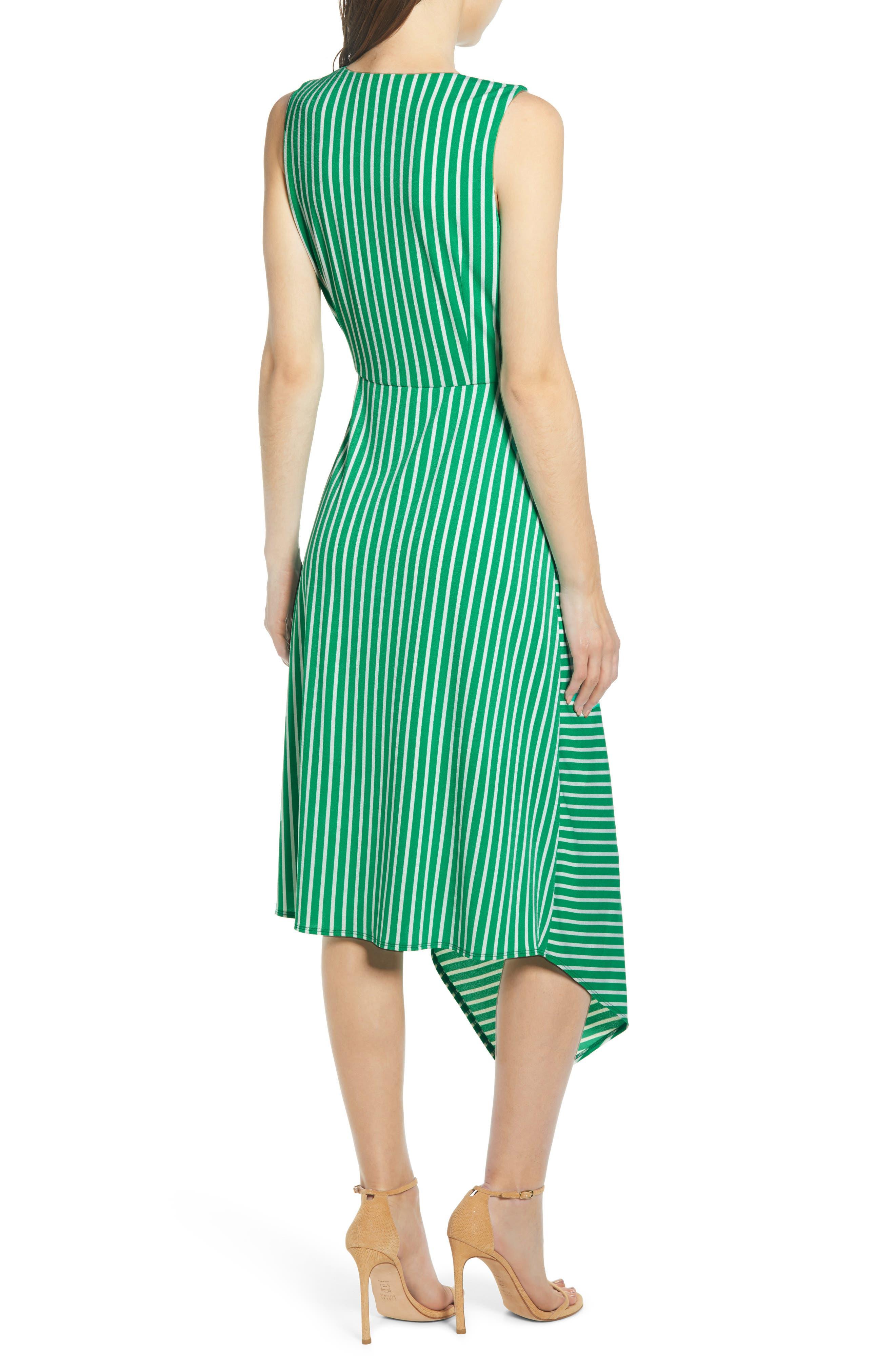 ,                             Wrap Midi Dress,                             Alternate thumbnail 2, color,                             JADE-WHITE STRIPE