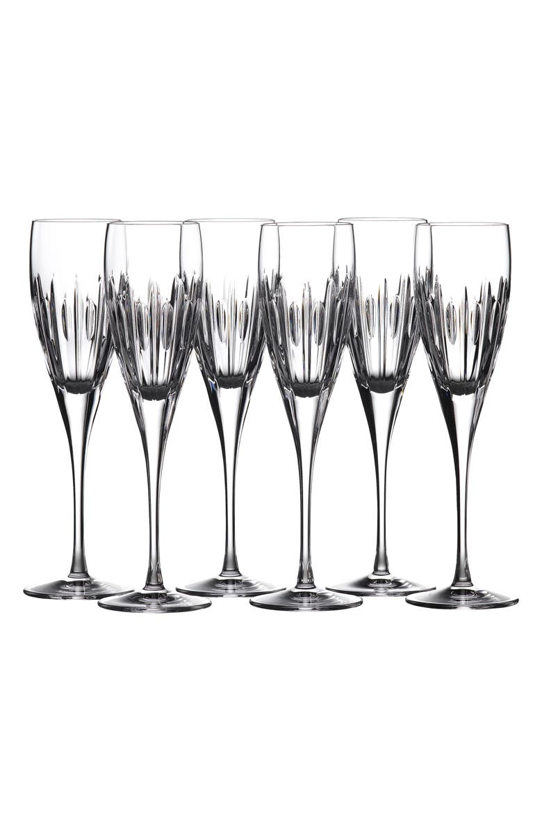 WATERFORD Mara Set of 6 Lead Crystal Champagne Flutes, Main, color, CLEAR