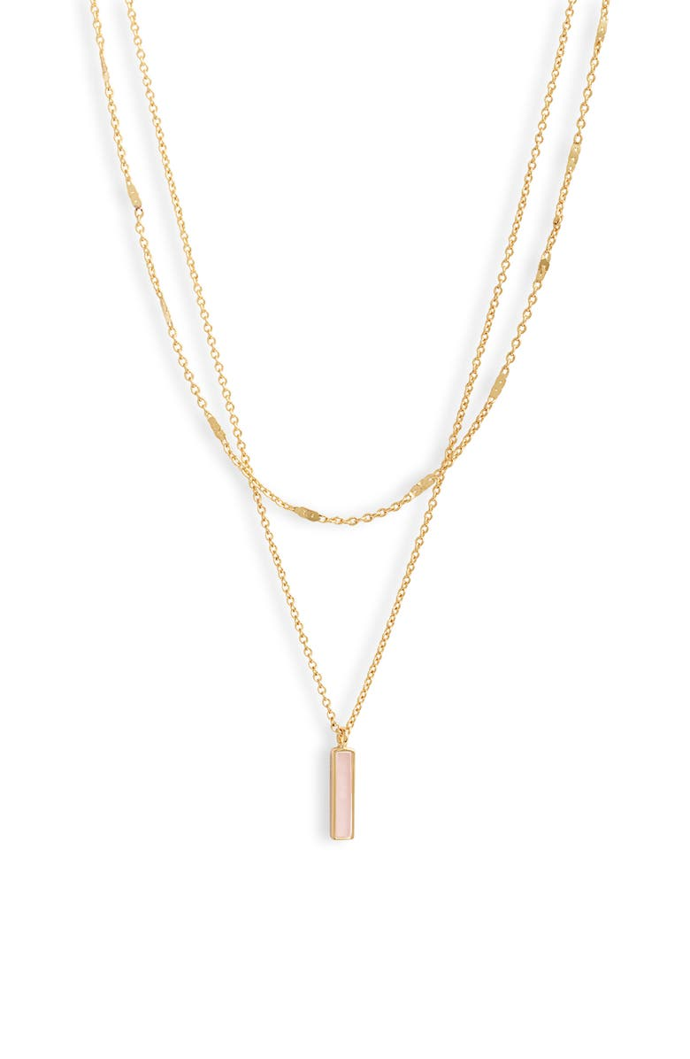 GORJANA Montecito Bar Layered Necklace, Main, color, GOLD/ ROSE QUARTZ