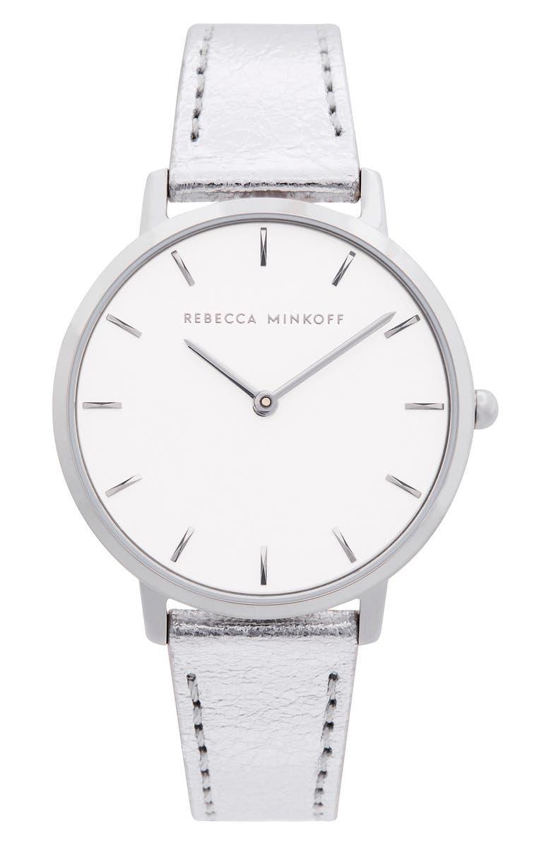 REBECCA MINKOFF Major Metallic Leather Strap Watch, 35mm, Main, color, SILVER/ WHITE/ SILVER