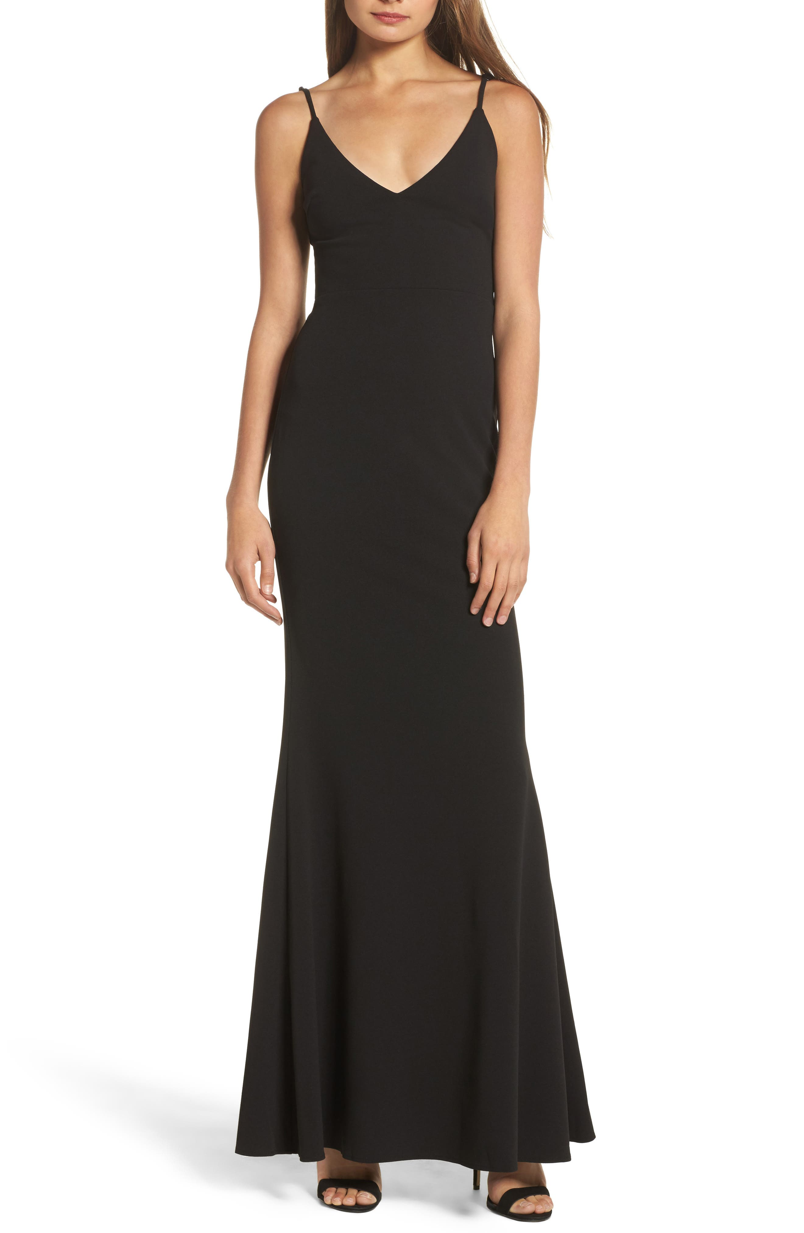 ,                             V-Neck Trumpet Gown,                             Main thumbnail 1, color,                             BLACK