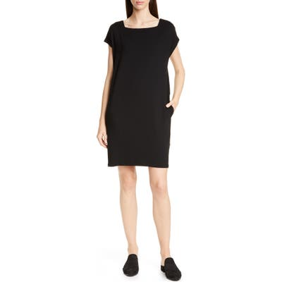 Petite Eileen Fisher Square Neck Tencel Lyocell Blend Dress, Black
