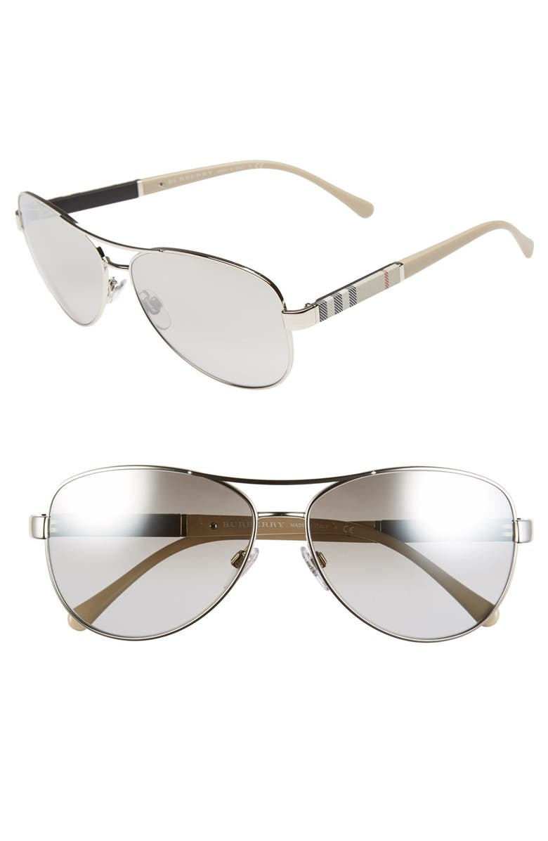 BURBERRY 59mm Aviator Sunglasses, Main, color, SILVER