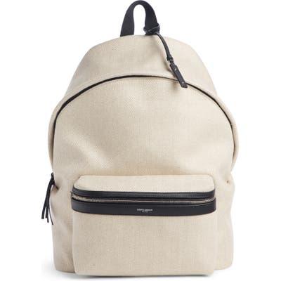 Saint Laurent City Herringbone Linen Backpack -