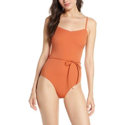 Chelsea28 Easy Retro Tie One-Piece Swimsuit, Brown
