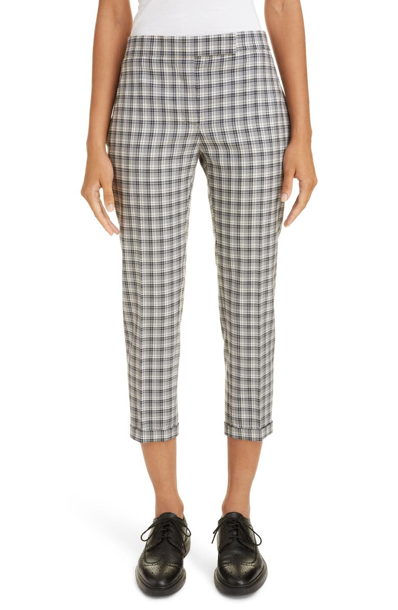THOM BROWNE Plaid Wool Crop Skinny Pants, Main, color, MEDIUM GREY
