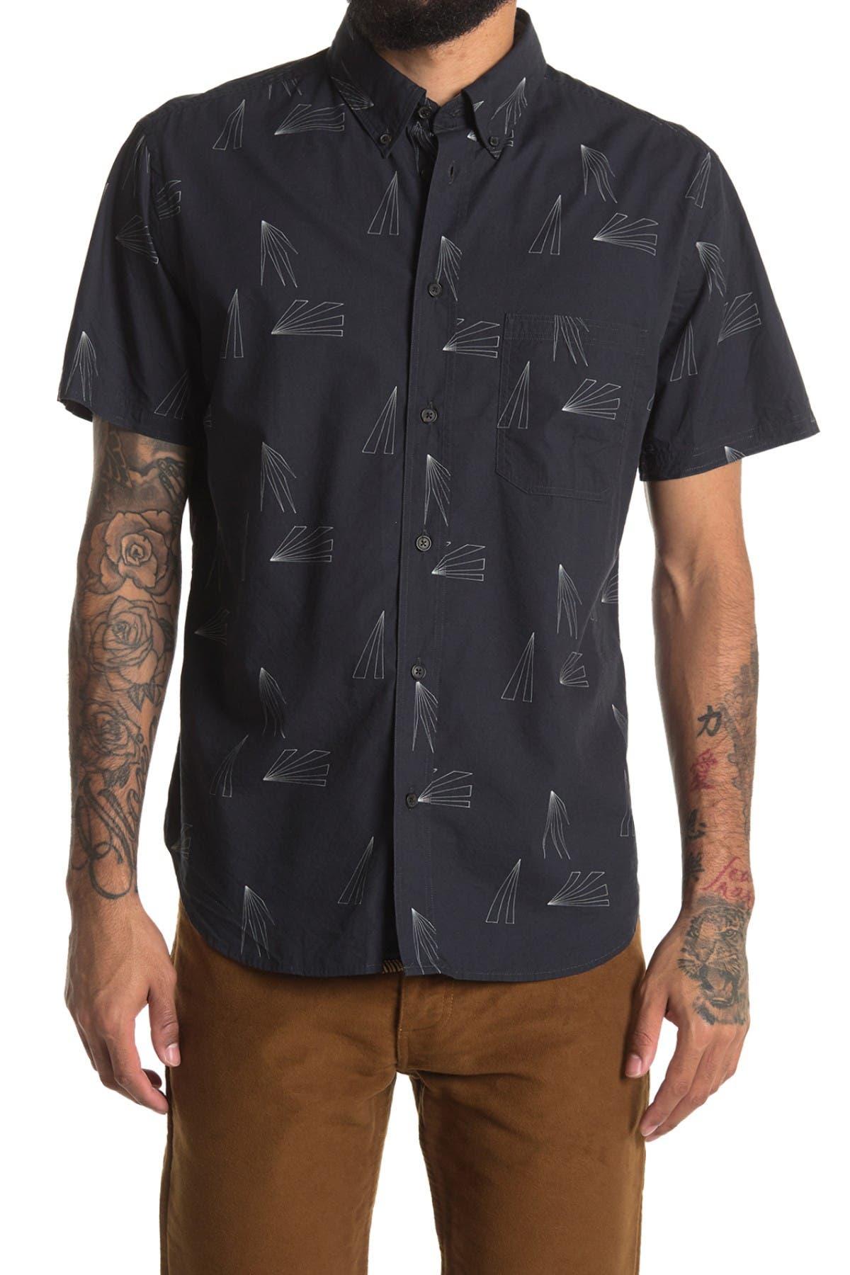 Image of Billy Reid Tuscumbia Geo Print Short Sleeve Regular Fit Shirt