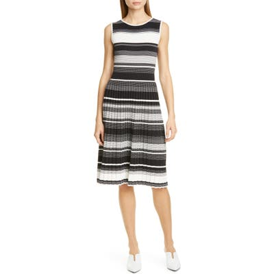 Kate Spade New York Stripe Knit Pleated Dress, Black