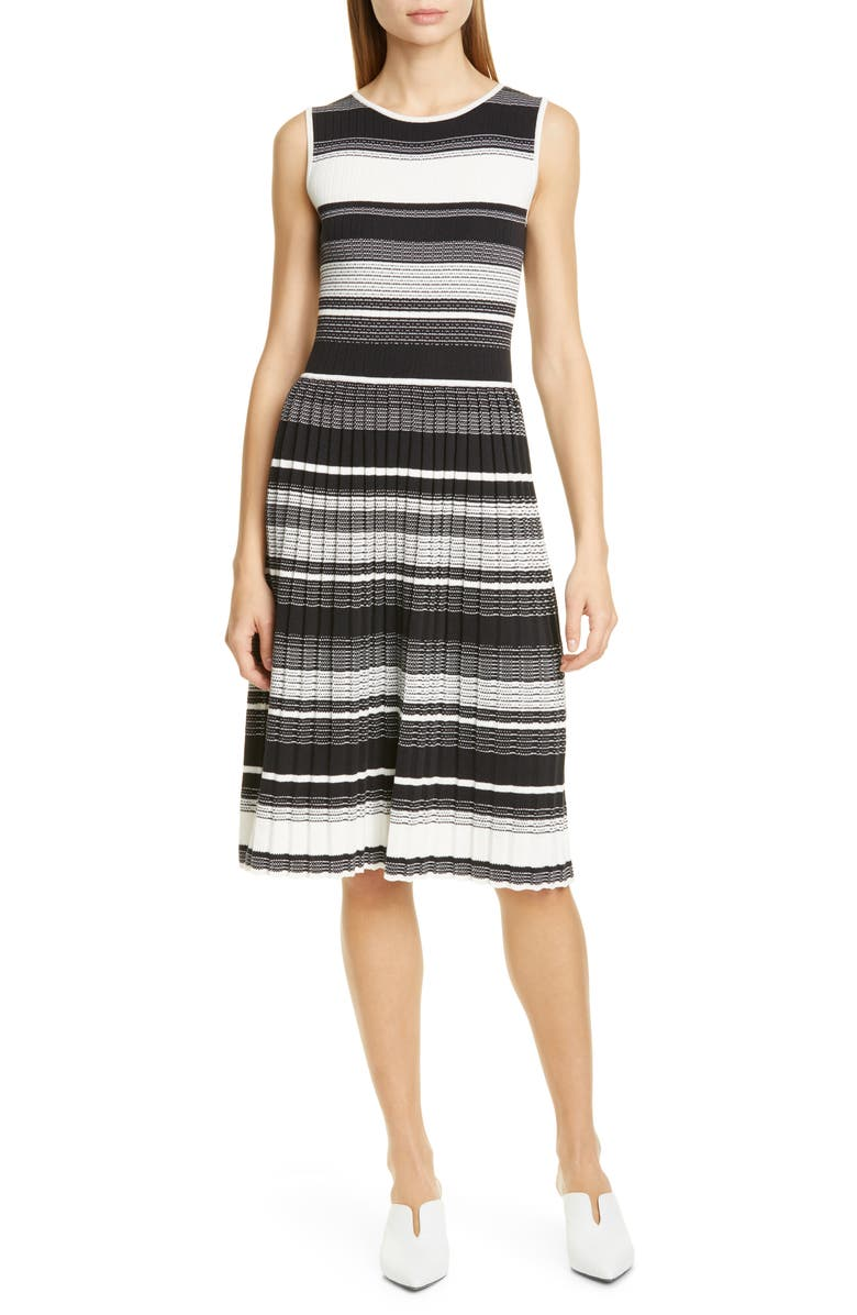 KATE SPADE NEW YORK stripe knit pleated dress, Main, color, BLACK