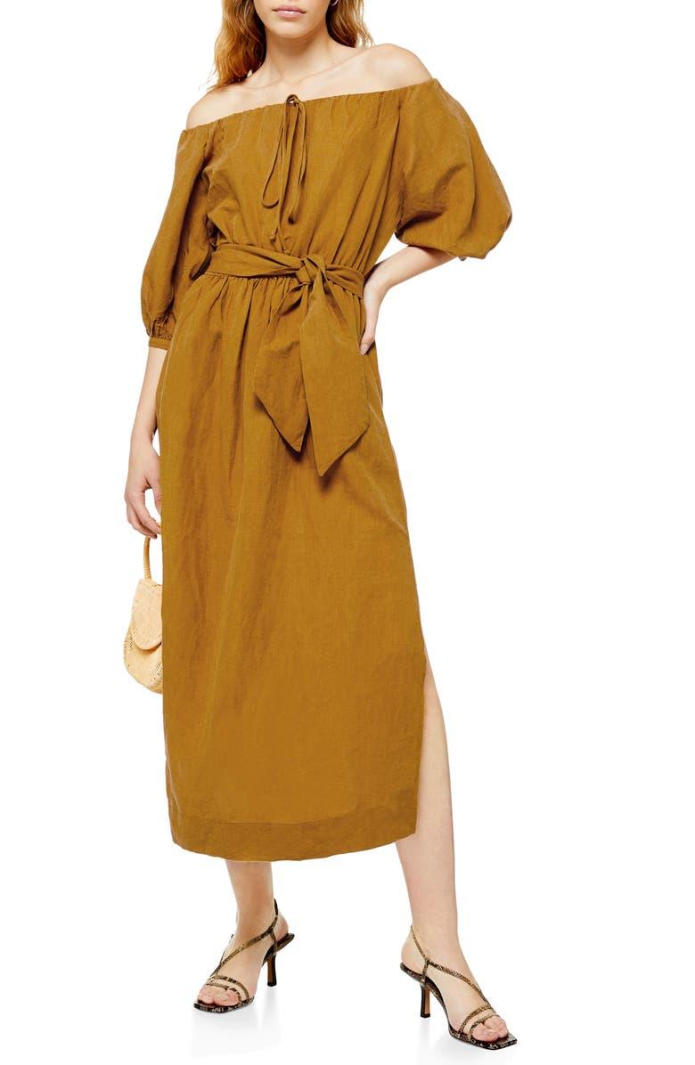 TOPSHOP Off the Shoulder Midi Dress, Main, color, STONE
