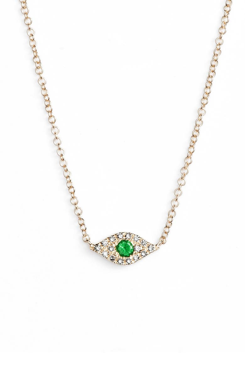 EF COLLECTION Evil Eye Diamond & Sapphire Pendant Necklace, Main, color, YELLOW GOLD/ TSAVORITE